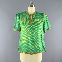 Green Silk Blouse Made From Vintage Indian Sari / Ethnic Boho Style / Gold Chevron Stripes / Size L Large