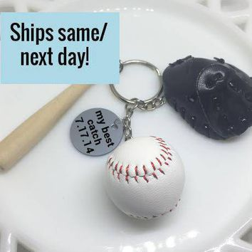 Baseball Keychain, My Best Catch, Baseball Player, Baseball Fan, Boyfriend Gift, Husband Gift, Dad Gift, Anniversary Gift, Baseball Glove