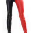 Red and black faux leather high waist leggings size medium