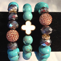 Turquoise Rondelle and Clover Arm Party   orianalamarca