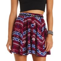 Button-Up Tribal Print Belted Skater Skirt - Navy Combo