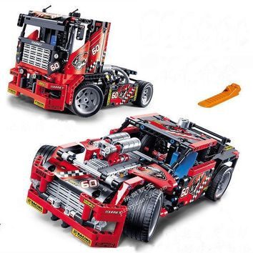 ICIKL3Z 608pcs Race Truck Car 2 In 1 Transformable Model Building Block Sets Decool 3360 DIY Toys Compatible With Legoe Technic 42041