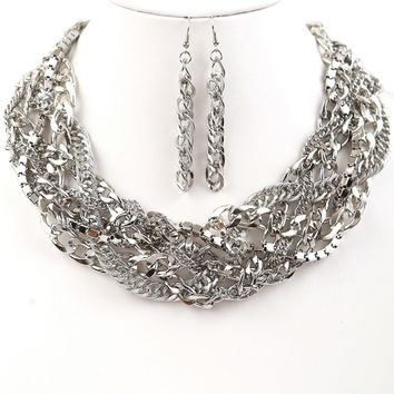 Addison Multi-Chain Braided Statement Necklace and Matching Earrings Set