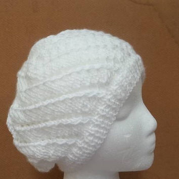 White beanie hat with eyelets hand knitted hat FREE SHIPPING   5280