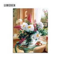 Unframed Flowers In Vase Wall Picture Canvas Drawing Coloring By Number Acrylic Oil Painting By Numbers For Living Room Wall Art
