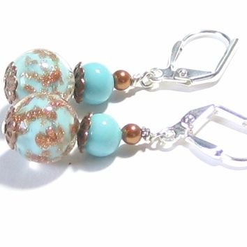 Genuine Murano Glass Turquoise Copper Ball Silver Earrings
