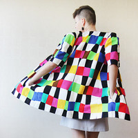 Colorful geometric color block 90s blazer