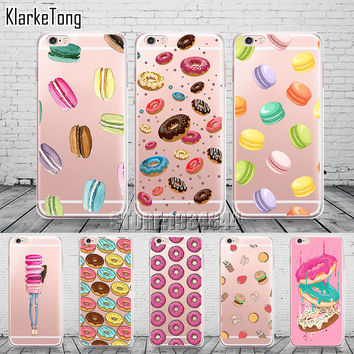 Rainbow Food Donuts Macaron Pattern Cases Cover For iphone 6 6s 5 5s se 7 7plus Transparent Silicon Protective Phone Shell Coque