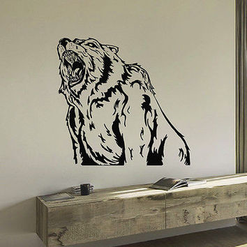 WALL DECAL VINYL STICKER PREDATOR ANIMAL BEAR WILD DECOR SB857