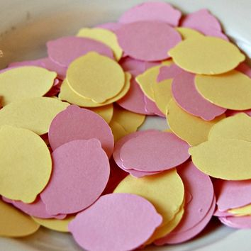 Pink Lemonade Themed Birthday Party Confetti - Lemonade Stand Party Decorations (100 pieces), Lemon Die Cuts