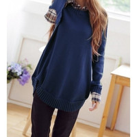 Dark Blue  Women  Casual Cotton Blend Knitting Sweater (One Size) (Color: Dark blue) = 1920285060