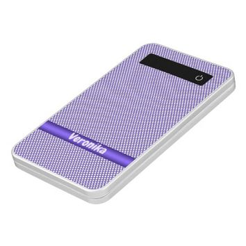 Violet small plaid pattern. Add name. Power Bank