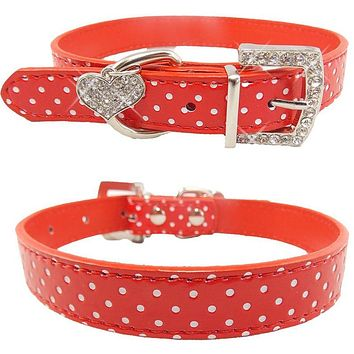 Pets Dog Collar Polka Dot Pattern Dog Accessories For Small Dog Collars And Leashes For Animals Heart Crystal Pendant Mascotas