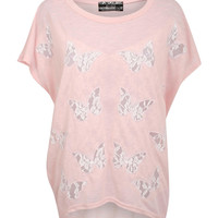 Gabby Multi Butterfly Lace Insert Oversized Top in Pink