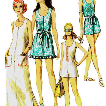 Swimsuit Dress & Swim Pants 1970s Vintage Sewing pattern Size 14 Bust 36 Inches UNCUT FF