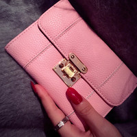 Summer Pink Women Wallet Clutch Purse Wristlet Small Handbag