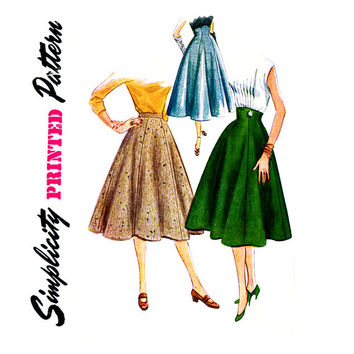 1950s Skirt Pattern Waist 28 Simplicity 4013 Flared 6 Gored Evening Skirts with Empire Waist or Day Skirts Womens Vintage Sewing Patterns