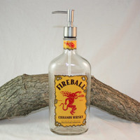 Larger Fireball Dispenser, Soap Dispenser, Lotion Dispenser,  Hot Sauce Dispenser, Upcycled Bottle