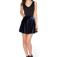 Velvet Deep Blue Skater Skirt - LIMITED