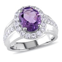 3 3/8 CT TGW Amethyst Created White Sapphire Fashion Ring  Silver