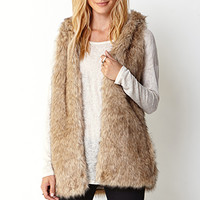 LOVE 21 Favorite Faux Fur Vest Tan
