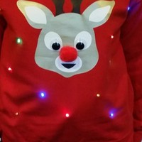 Red Nose Reindeer - LIGHT UP - UGLY CHRISTMAS SWEATER | StickItVinyls