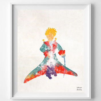 The Little Prince, Print, Le Petit Prince, French, Watercolor, Poster, Illustration, Nursery, Home Decor, Baby Shower, Wall, Gift [NO 694]