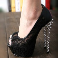 16cm High With Lace Fish Head High Heels