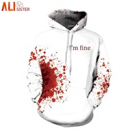 Alisister I'm Fine Horror Wound 3d Hoodies Men Women Plus Size Cosplay Sweatshirts Punk Thin Streetwear With Cap Masculino