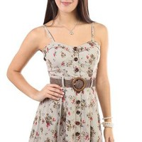 deb: floral printed corset style belted casual dress