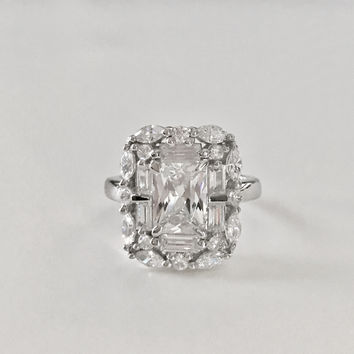 Art Deco 1.8CT Emerald Cut Russian Lab Diamond Halo Ring