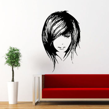 Makeup Wall Decal Vinyl Sticker Decals Home Decor Mural Make Up Girl Woman Fashion Cosmetic Hairdressing Hair Beauty Salon Decor SV6031