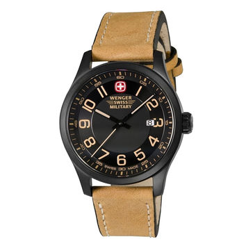 Wenger Men's Swiss Quartz Brushed Stainless Steel and Leather Watch(Model: 79...