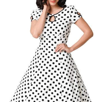 Chicloth White & Black Dotted Cap Sleeve Swing Dress