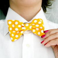 Yellow polka dots Bow tie, Blue bow tie Men Bow tie, Hair clip bow, Photographer bow tie, Polka dots bow tie.  Spring Yellow. Gifr for him