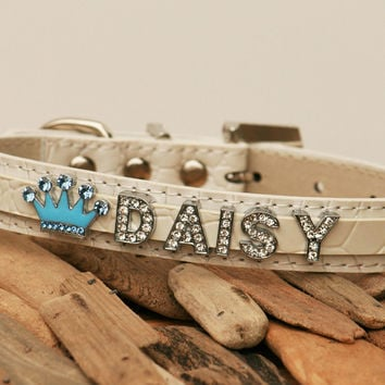 White leather dog collar with blue crown and up to 7 rhinestone letters- some thing blue