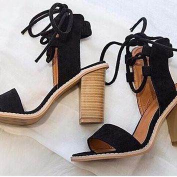 Women's Vintage, 70's style, open toed, lace up, Wooden Square High Heel