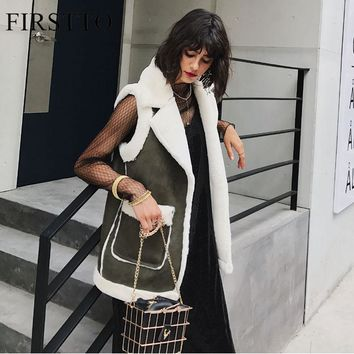 FIRSTTO Fashion Contrast Color Faux Fur Spliced Faux Suede Lapel Sleeveless Vest Warm Outerwear Pockets Woman Coat Tops 2 Colors