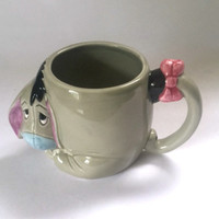 Disney Eeyore Mug Gray Pink Coffee Cup 3D China