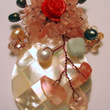 Vintage pin brooch jewelry, mother of pearl, small pearls and crystals wired to pin, unique gift under 20, woman wife mother