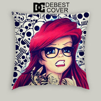 Ariel Little Mermaid Skull Pillow Cases Square Available In 16 x 16 Inches 18 x 18 Inches 20 x 20 Inches