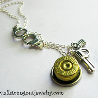 Upcycled Bullet Casing Sterling Silver Necklace with Handcuff & Pistol Charm