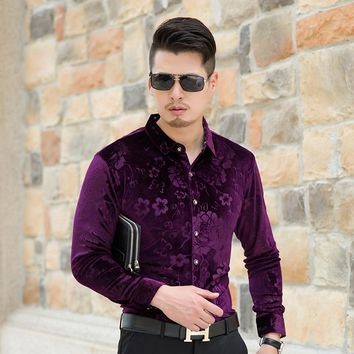 2017 New Arrival Autumn & Winter Mens Gold Velvet Shirt Fashion Floral Male Long Sleeve Velvet Dress Shirts