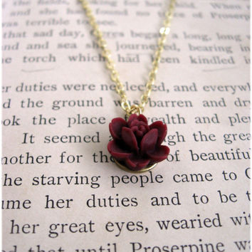The Lydia Deep Rose Red Necklace by sodalex on Etsy