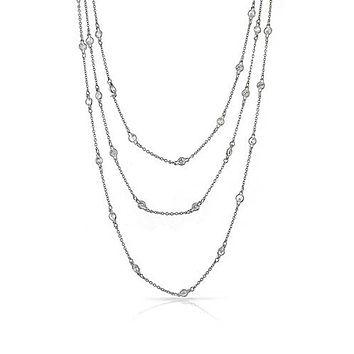 Strand CZ By The Yard Tin Cup Chain Layer Necklace 925 Sterling Silver