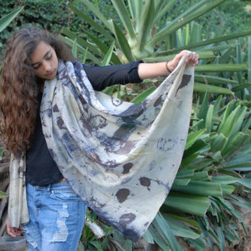 Extra Large Eco Print, Medium Print, Botanical Print, Contact Print, Natural Silk Scarf, Organic, Eco Fashion, Designers Scarf, Head Cover