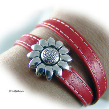 Womens wrap leather bracelet red silver flower  - magnetic clasp Zamac -  womens bracelet - gift for her - gift for women sister girlfriend