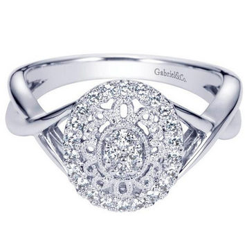 Gabriel 0.25 Carat Antique Styled Diamond Filigree Fashion Ring in 14K White Gold
