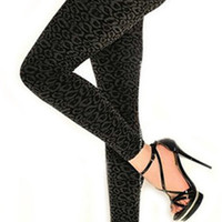Black Cheetah Print Leggings Design 95