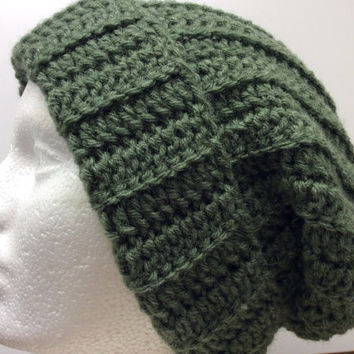 Green  crochet beanie, Great gift idea, camping, hiking, snow skiing, hunting beanie. Women or men adult and teen beanie, Hand crochet